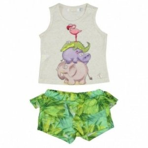 Conjunto Regata e Short Bichinhos Art Kids