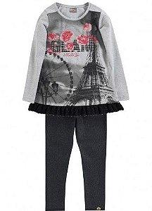 Mini Vestido Paris e Legging Brilho Brandili Mundi