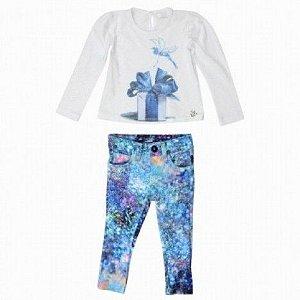 Blusa com Calça Neoprene Pedras Preciosas Art Kids