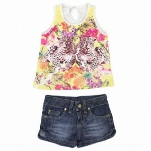 Conjunto Regata e Short Jeans Onça Art Kids