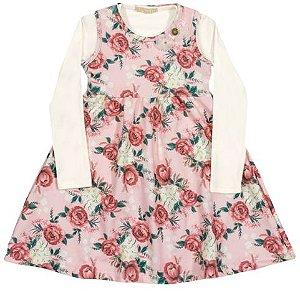Vestido Flores Rosa com Blusa Arte Menor