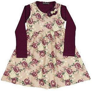 Vestido Flores com Blusa Arte Menor