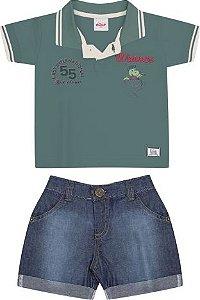 Conjunto Camiseta Polo e Bermuda Jeans Elian