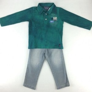 Conjunto Polo e Calça jeans Art Kids
