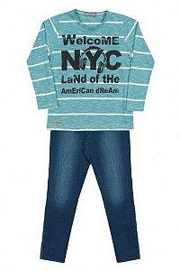 Camiseta NYC com Calça Jeans Arte Menor