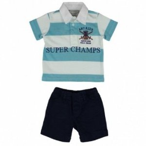 Conjunto Polo e Bermuda Super Champs Art Kids