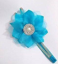 Faixa de Strass dupla com Flor Azul