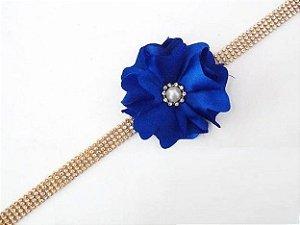 Faixa de Strass com Flor de Cetim Azul Bic