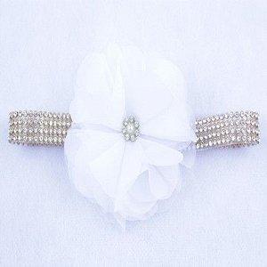 Faixa de Strass com Flor de Branco