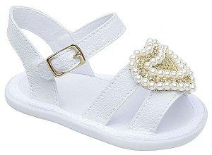 Sandália Babyi Branca Coração