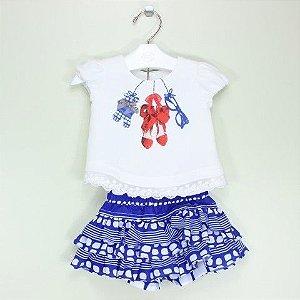 Conjunto 1+ 1 Blusa Rendas e Saia Short Azul