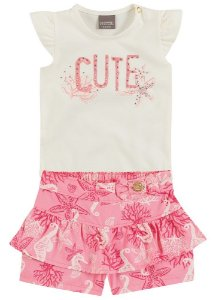 Conjunto Blusa e Short Brandili Fundo do Mar Rosa