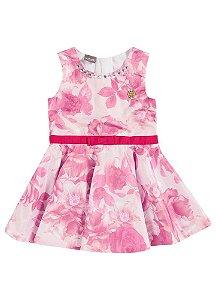Vestido Brandili Cinto Laço Channel Rosa