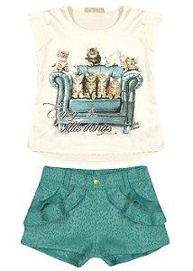 Conjunto Arte Menor Blusinha Gatinhos e Short Verde