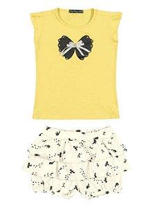 Conjunto Arte Menor Blusa Amarela e Saia Short Pássaros