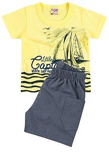 Conjunto Brandili Camiseta Captain Amarelo e Bermuda