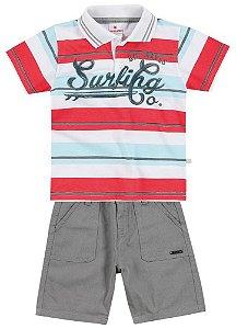 Conjunto Brandili Camiseta Polo Listrada e Bermuda