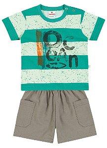 Conjunto Brandili Camiseta Ocean Verde Listrada e Bermuda