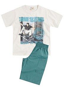 Conjunto Brandili Camiseta Skaters Cinza e Bermuda
