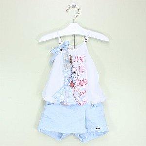 Conjunto 1+1 Bata Style e Short Azul