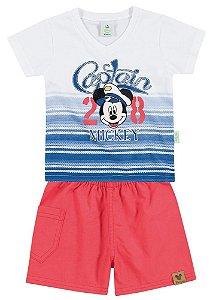 Conjunto Brandili Camiseta Mickey Captain Branco e Bermuda