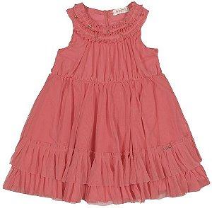 Vestido Infanti Realeza Coral Tule