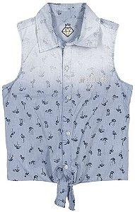 Camisa Infanti Jeans Flamingo