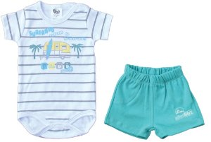 Conjunto Bb2 Body Surfando com o Papai e Short Verde