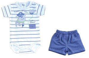 Conjunto Bb2 Body BullDog Pirata com Short Jeans