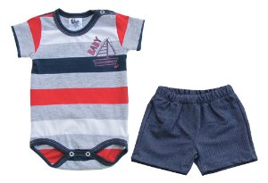 Conjunto Bb2 Body Barco com Short Jeans