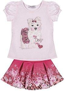 Conjunto Infanti Blusa My Dog e Saia
