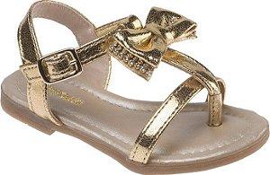 Sandália Pimpolho Dourada Laço de Strass