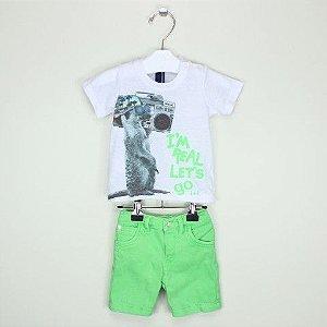 Conjunto 1+1 Camiseta Let's Go e Bermuda Verde