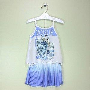 Conjunto 1+1 Blusa Vogue e Saia Azul