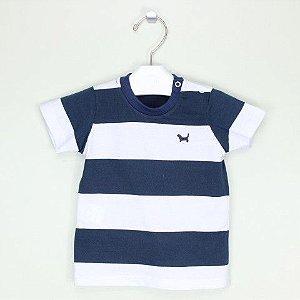 Camiseta 1+1 Listrada Azul e Branco