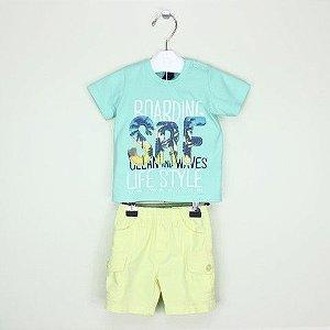 Conjunto 1+ 1 Camiseta Surf e Bermuda Amarela