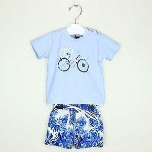 Conjunto 1+1 Camiseta Biker Azul e Bermuda Tactel