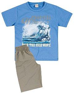 Conjunto Brandili Camiseta Azul Tropical e Bermuda