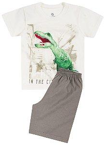 Pijama Brandili Camiseta Dinossauro Brilha no escuro e Bermuda