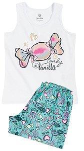 Pijama Brandili Regata Candy e Short Estampado Docinhos