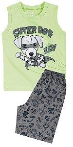Pijama Brandili Regata Verde Super Dog e Bermuda