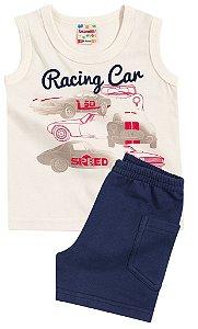 Conjunto Brandili Regata Racing Car Bege e Bermuda Marinho