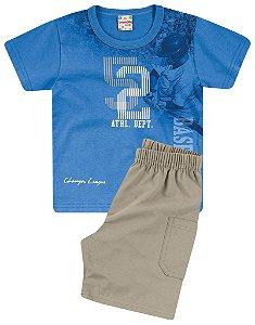 Conjunto Brandili Camiseta Baseball Azul e Bermuda