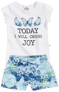Conjunto Brandili Blusa Today Branca e Short Florido Azul