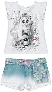 Conjunto Infanti Blusinha Party e Short com Cinto Azul