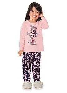 Pijama Manga Longa Brandili Coelhinha Rosa estampado
