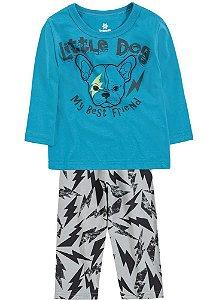 Pijama Brandili Camiseta Manga Longa Little Dog e Calça