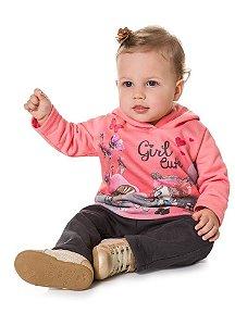 Conjunto Brandili Moletom Girl Cute com Capuz e Calça de Moletom