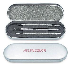 Kit De Estojo Com 3 Espátulas Inox Para Unhas E3 Helen Color