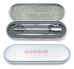 Kit De Estojo Com 3 Espátulas Inox Para Unhas E1 Helen Color